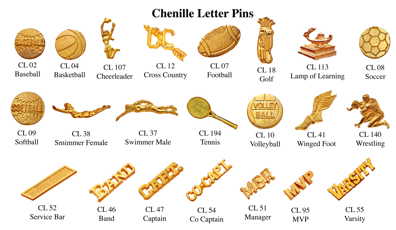 chenille letter pins
